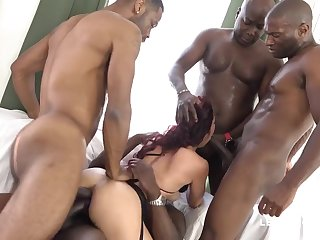 four Fat BLACK COCK Tear Her Bum Dana Santo