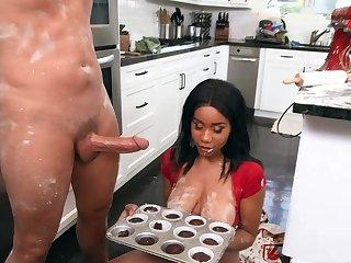 Naked ebony battle-axe alongside big tits, crazy cookhouse have a passion