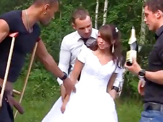 Russian better half enjoys an interracial gang-bang outdoors