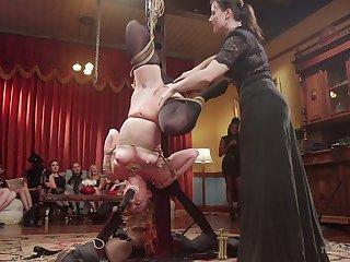 Hogtied redhead Syren De Mer gets her twat masturbated in whore-house