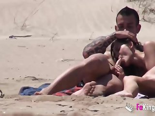 Beach Dogging! Ainara fucks a voyeur added to a couple joins them