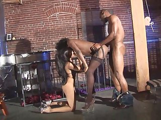 Extraordinary black girls approximately heels fucked by his big black cock