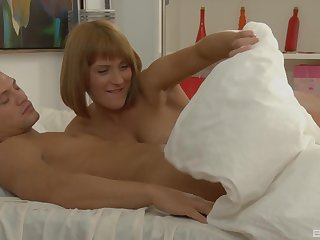 Three horn-mad blondes love all over get fucked together hard by their handsome friend
