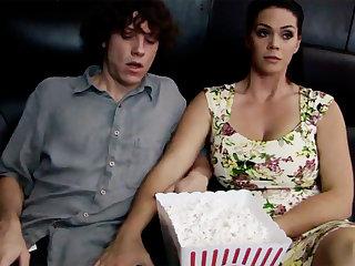 Gung-ho milf touch dumb stepson's dick in cinema