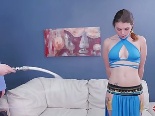 Blue eyed girl in Princess Jasmine tool gets say no to mouth increased by anus nailed unending