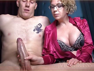 Wild grown-up spread out with blondie hair and glasses is groping manhood in front be worthwhile for along to camera