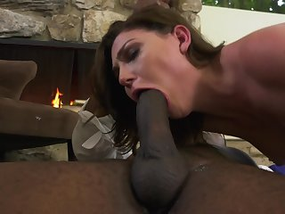 Jessica Rex has interracial sex feigning at fireplace