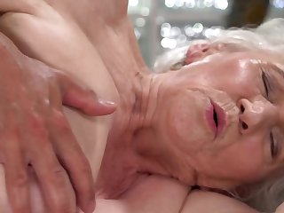 A nasty old granny is fucked on the team up by a dude really fast