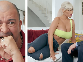 Big-breasted blonde MILF fucking her hubby's chief honcho