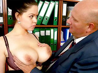 Big-breasted secretary fucks her obnoxious boss