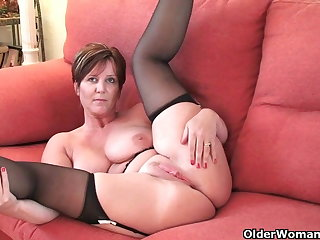 British milf Glee exposing her big tits added to hot fanny