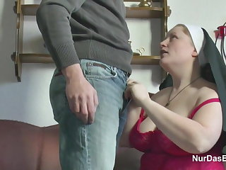 German Young Boy sweet-talk Granny Nun to Fuck Him