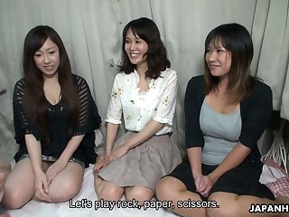 Incomparable Japanese girls serve several edacious dudes and show their creampied pussies