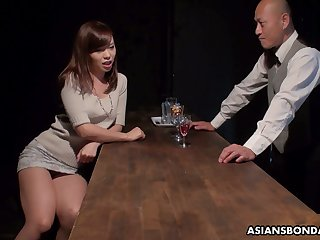 Japanese bimbo Aihara Miho is fucked, creampied and jizzed unconnected with two clients