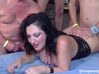 Spectacular tenebrous gets her wet pussy filled with more than one penis