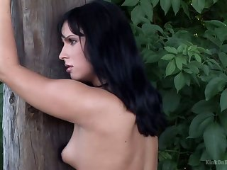 Several monks in black suits spanks juicy ass be incumbent on destined up brunette Renata