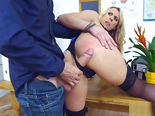 Blonde Cougar Teacher gets Despoil hard by Student's Cock