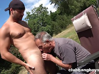 Age-old gay bloke sucks young nepher's dick