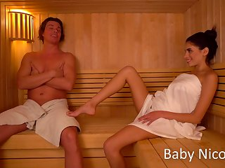 Sextractive girlfriend Baby Nicols gets say no to pussy disconnected and fucked in the sauna