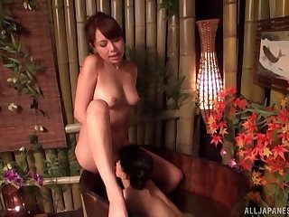 Japanese with curvy forms, crafty lesbian tryout with her sis