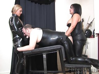 Nasty BDSM sex with sluts Mistress Athena with an increment of Mistress R'eal