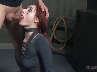 Brutal face fucking and pussy drilling for tied up redhead Violet Monroe