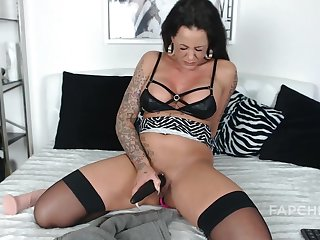 Yummy Brunette Milf Whore Pleasuring Herself