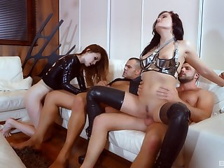 Cock swapping foursome perfection with two whores