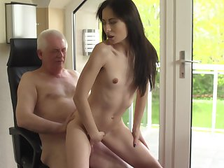Older citizen dicks flat-chested brunette youngster Roxy Sky