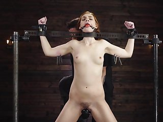 Duteous redhead ass fucked while being restrained