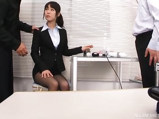 MMF threesome wide the assignation with secretary Kitagawa Yuzu. HD