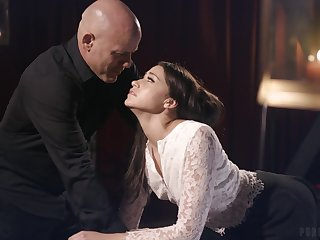 Seductive babe Avi Love is fucked together with jizzed away from brutal bald headed man