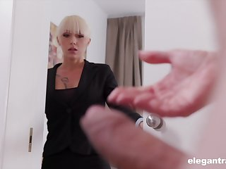 Christina musts the brush business partner jerking off and decides to help him