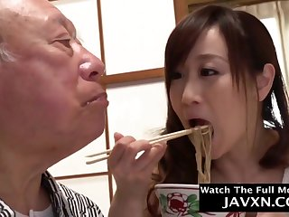 Japanese Babe Helps Outside Grandpa