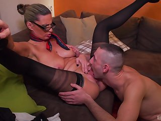 Stimulated mature swallows a lot after being fucked like a whore