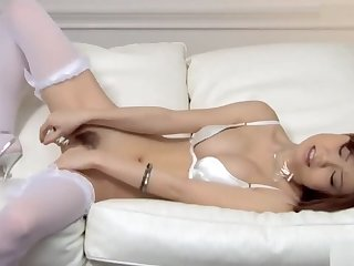 Sexy Nao approximately white lingerie fondles her boobs